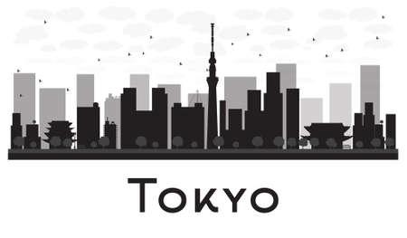 Tokyo City Skyline Schwarzweiss-Silhouette. Vektor-Illustration. Einfache Wohnung Konzept für den Tourismus-Präsentation, Banner, Plakat oder auf der Website. Business-Travel-Konzept. Stadtbild mit den berühmten Sehenswürdigkeiten