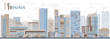 ave fenix: Resumen Phoenix Skyline con edificios de color. Ilustración del vector. Los viajes de negocios y el concepto de turismo con los edificios modernos. Imagen de la presentación, la bandera, el cartel y la página web.
