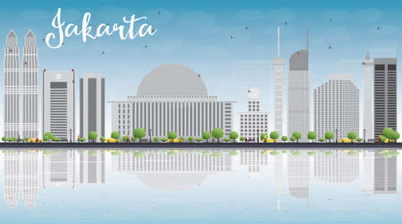 jakarta: Jakarta skyline with grey landmarks, blue sky and reflections. Vector illustration. Business travel and tourism concept with copy space. Image for presentation, banner, placard and web site.