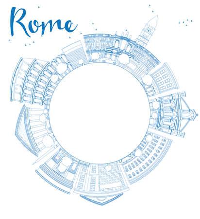 青いランドマークとコピー スペース概要ローマ スカイライン。ビジネス旅行と観光コンセプトのテキスト。プレゼンテーション、バナー、プラカー