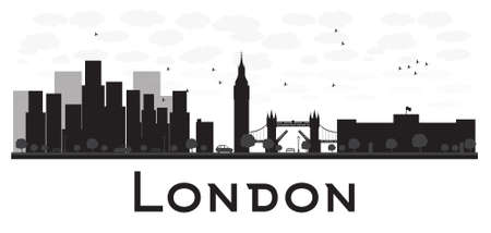 London skyline black and white silhouette. Vector illustration. Simple flat concept for tourism presentation, banner, placard or web site. Business travel concept. Cityscape with famous landmarks Illustration