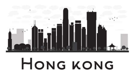 Hong Kong City skyline black and white silhouette. Vector illustration. Concept for tourism presentation, banner, placard or web site. Business travel concept. Cityscape with famous landmarks