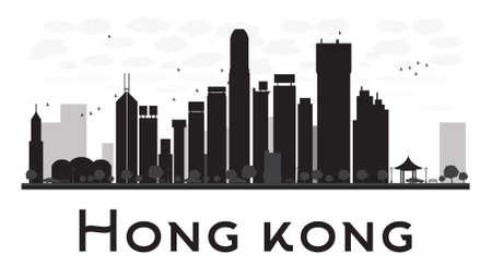 Hong Kong skyline van de stad zwart-wit silhouet. Vector illustratie. Concept voor het toerisme presentatie, banner, aanplakbiljet of website. Zakenreizen concept. Stadslandschap met beroemde bezienswaardigheden