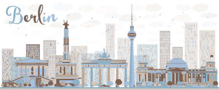building site: Abstract Berlin skyline with color building. Vector illustration. Business and tourism concept with historic buildings. Image for presentation, banner, placard and web site Illustration