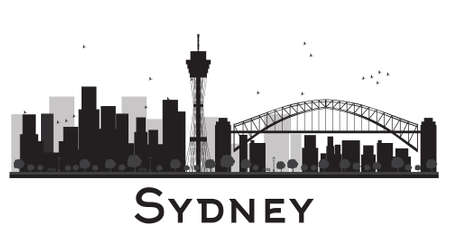 sydney skyline: Sydney City skyline black and white silhouette. Vector illustration. Concept for tourism presentation, banner, placard or web site. Business travel concept. Cityscape with famous landmarks Illustration