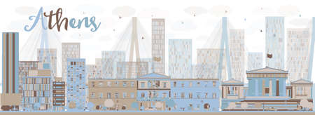 modern architecture: Abstract Athens Skyline with Color Buildings. Vector Illustration. Business and tourism concept. Image for presentation, banner, placard and web site