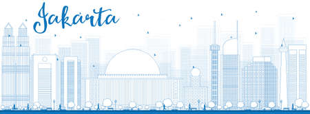 historic: Outline Jakarta skyline with blue landmarks. Vector illustration. Business travel and tourism concept with historic buildings. Image for presentation, banner, placard and web site.
