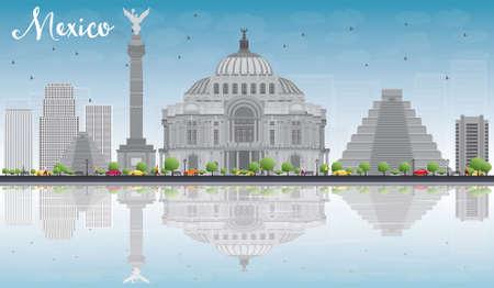 grey sky: Mexico skyline with grey landmarks and blue sky. Illustration