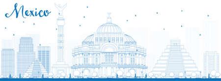 angel de la independencia: Esquema horizonte de México con las señales azules. Ilustración del vector. Los viajes de negocios y el concepto de turismo de edificios históricos. Imagen de la presentación, bandera, cartel y el sitio web.