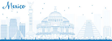 Outline Mexico skyline with blue landmarks. Vector illustration. Business travel and tourism concept with historic buildings. Image for presentation, banner, placard and web site.