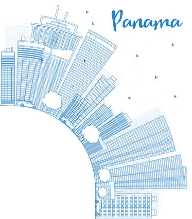 panama city: Outline Panama City skyline with blue skyscrapers and copy space. Vector Illustration. Business travel and tourism concept with place for text. Image for presentation, banner, placard and web site.