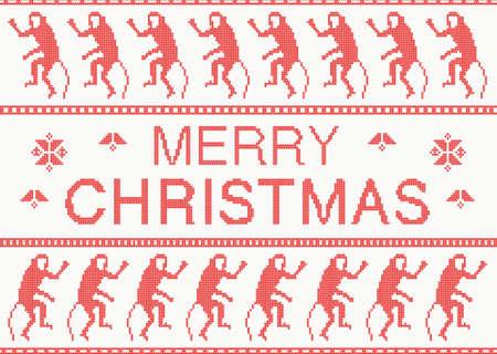scandinavian christmas: Merry Christmas Scandinavian style knitted pattern with monkey.