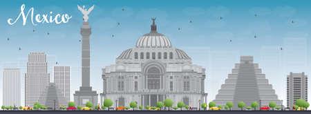 angel de la independencia: Horizonte de México con hitos grises y cielo azul. Ilustración del vector. Los viajes de negocios y el concepto de turismo de edificios históricos. Imagen de la presentación, bandera, cartel y el sitio web. Vectores