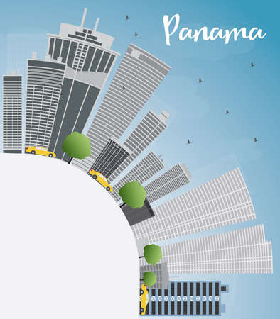 grey sky: Panama City skyline with grey skyscrapers, blue sky and copy space. Illustration