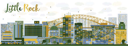 little people: Abstract Little Rock skyline with blue and green buildings. Vector illustration. Business travel and tourism concept with modern buildings. Image for presentation, banner and placard