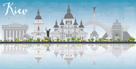reflections: Kiev skyline with grey landmarks, blue sky and reflections. Vector illustration. Business travel and tourism concept with place for text. Image for presentation, banner, placard and web site.