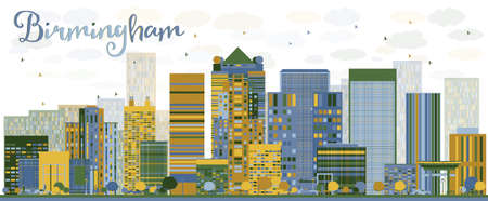 birmingham: Abstract Birmingham Alabama Skyline with color Buildings. Vector Illustration. Business travel and tourism concept. Image for presentation, banner, placard and web site