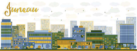 modern buildings: Abstract Juneau Alaska Skyline with Color Buildings. Business travel and tourism concept with modern buildings. Image for presentation, banner, placard and web site.