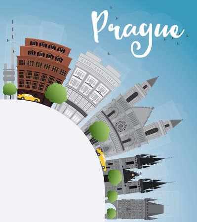 grey sky: Prague skyline with grey landmarks, blue sky and copy space.