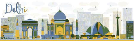 Abstract Delhi skyline with color landmarks.