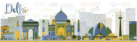 skyline abstract Delhi met kleur bezienswaardigheden. Stock Illustratie
