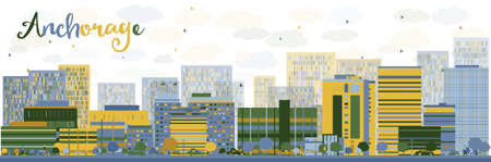 anchorage: Abstract Anchorage Alaska Skyline with color Buildings. Vector Illustration. Business and tourism concept with place for text. Image for presentation, banner, placard and web site Illustration