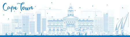 reise retro: Skizzieren Skyline von Kapstadt mit blauen Gebäuden. Vektor-Illustration. Geschäftsreisen und Tourismus-Konzept mit modernen Gebäuden. Bild für die Präsentation, Banner, Plakat und Website.