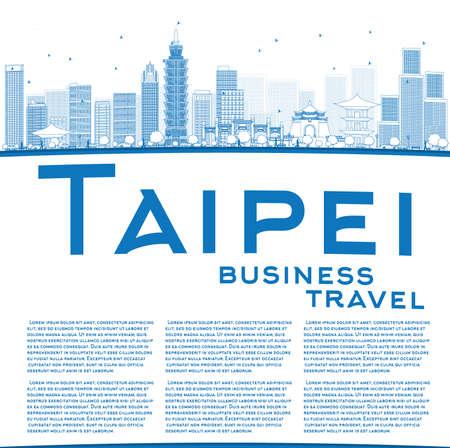 블루 랜드 마크 및 복사 공간 타이페이 스카이 라인을 설명합니다. 벡터 일러스트 레이 션. 텍스트에 대 한 장소 비즈니스 여행 및 관광 개념입니다. 프