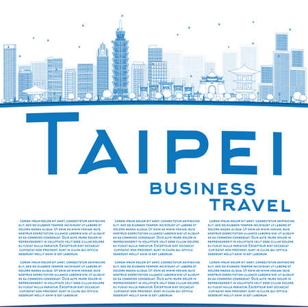 Outline skyline Taipei met blauwe bezienswaardigheden en kopie ruimte. Vector illustratie. Zakelijke reizen en toerisme concept met plaats voor tekst. Afbeelding voor de presentatie, banner, aanplakbiljet en website.