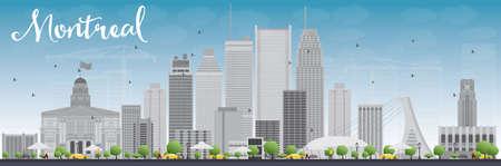 회색 건물와 푸른 하늘 몬트리올 스카이 라인. 벡터 일러스트 레이 션. 현대적인 건물 비즈니스 여행 및 관광 개념. 프레 젠 테이 션, 배너, 현수막 및