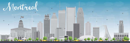montreal: Montreal skyline with grey buildings and blue sky. Vector illustration. Business travel and tourism concept with modern buildings. Image for presentation, banner, placard and web site.