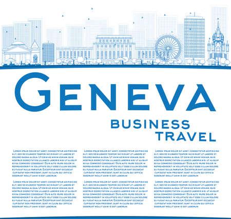 Décrire horizon Genève avec des repères bleus et espace de copie. Vector illustration. Voyage d'affaires et le concept de tourisme avec place pour le texte. Photo pour une présentation, bannière, affiche et le site Web. Banque d'images - 48676673