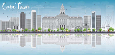 cape town: Cape town skyline with grey buildings, blue sky and reflection. Vector illustration. Business travel and tourism concept with place for text. Image for presentation, banner, placard and web site. Illustration