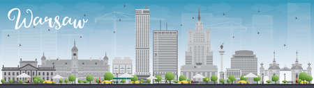 european culture: Warsaw skyline with grey buildings and blue sky. Vector illustration. Business travel and tourism concept with modern buildings. Image for presentation, banner, placard and web site. Illustration