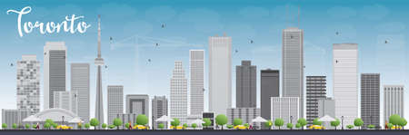 Toronto skyline with grey buildings and blue sky. Vector illustration. Business travel and tourism concept with modern buildings. Image for presentation, banner, placard and web site.