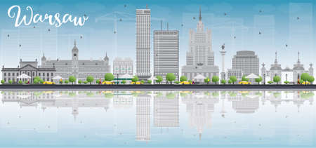 warsaw: Warsaw skyline with grey buildings, blue sky and place for text. Vector illustration. Business travel and tourism concept with modern buildings. Image for presentation, banner, placard and web site.