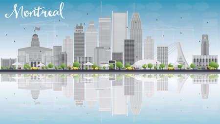 Montreal-Skyline mit grauen Gebäude, blauer Himmel und Reflexion. Vektor-Illustration. Geschäftsreisen und Tourismus-Konzept mit Platz für Text. Bild für die Präsentation, Banner, Plakat und Website. Standard-Bild - 48676684