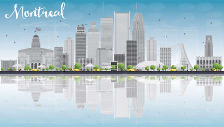 quebec city: Montreal skyline with grey buildings, blue sky and reflection. Vector illustration. Business travel and tourism concept with place for text. Image for presentation, banner, placard and web site.