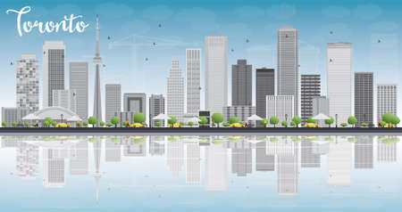 Toronto skyline with grey buildings, blue sky and reflection. Vector illustration. Business travel and tourism concept with place for text. Image for presentation, banner, placard and web site.