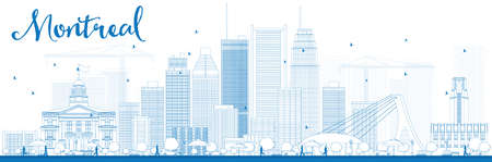 quebec city: Outline Montreal skyline with blue buildings. Vector illustration. Business travel and tourism concept with modern buildings. Image for presentation, banner, placard and web site.