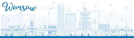 warsaw: Outline Warsaw skyline with blue buildings. Vector illustration. Business travel and tourism concept with modern buildings. Image for presentation, banner, placard and web site. Illustration