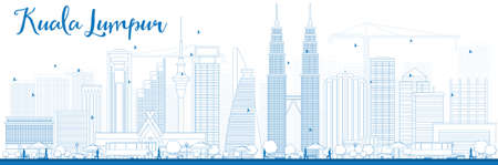 Outline Kuala Lumpur Skyline met Blue Gebouwen. Vector illustratie. Zakelijke reizen en toerisme concept met moderne gebouwen. Afbeelding voor de presentatie, banner, aanplakbiljet en website. Stock Illustratie