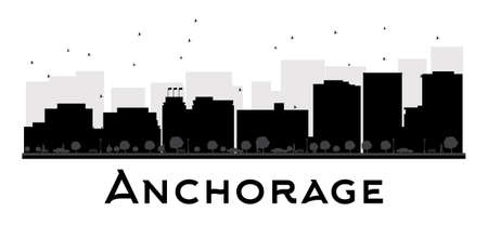 anchorage: Anchorage City skyline black and white silhouette. Vector illustration. Simple flat concept for tourism presentation, banner, placard or web site. Business travel concept. Cityscape with famous landmarks Illustration