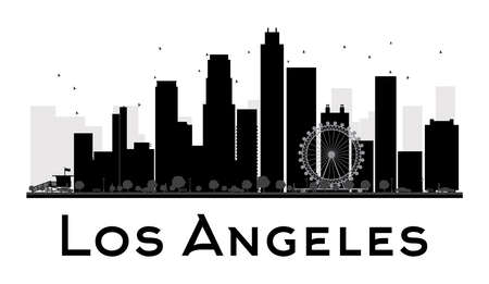 los: Los Angeles City skyline black and white silhouette. Vector illustration. Simple flat concept for tourism presentation, banner, placard or web site. Business travel concept. Cityscape with famous landmarks