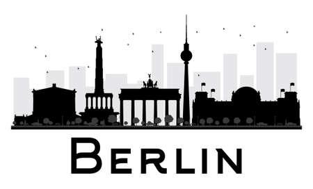베를린 도시의 스카이 라인 흑백 실루엣입니다. 벡터 일러스트 레이 션. 관광 프리젠 테이션, 배너, 현수막 또는 웹 사이트에 대 한 간단한 평면 개념.