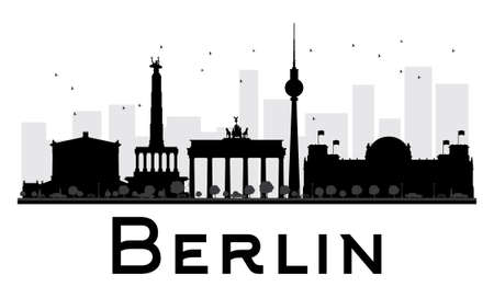 Berlin City skyline black and white silhouette. Vector illustration. Simple flat concept for tourism presentation, banner, placard or web site. Business travel concept. Cityscape with famous landmarks Stock Illustratie