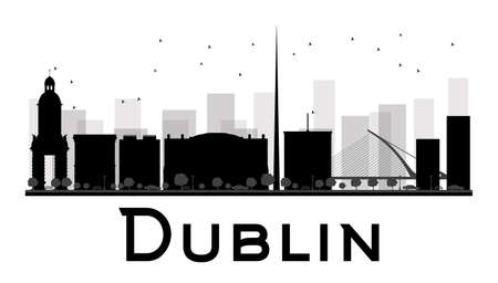 Dublin City skyline black and white silhouette. Vector illustration. Simple flat concept for tourism presentation, banner, placard or web site. Business travel concept. Cityscape with famous landmarks
