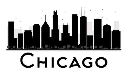 chicago skyline: Chicago City skyline black and white silhouette. Vector illustration. Simple flat concept for tourism presentation, banner, placard or web site. Business travel concept. Cityscape with famous landmarks