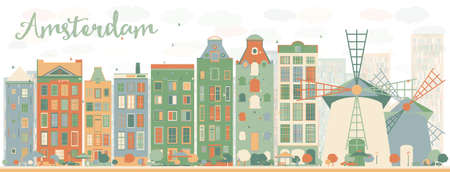 building silhouette: Abstract Amsterdam city skyline with color buildings. Vector illustration. Business travel and tourism concept with historic buildings. Image for presentation, banner, placard and web site.