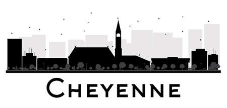 cheyenne: Cheyenne City skyline black and white silhouette. Vector illustration. Simple flat concept for tourism presentation, banner, placard or web site. Business travel concept. Cityscape with famous landmarks